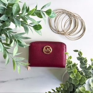 NWT Michael Kors Burgundy Coin Case Wallet
